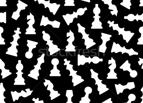 Végtelenített sakkfigurák fekete sakk játék rajz Stock fotó © DeCe