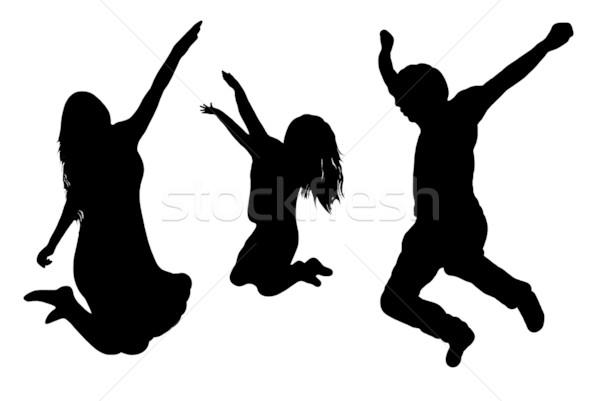 Stok fotoğraf: Atlama · aile · yalıtılmış · beyaz · parti · mutlu