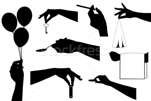 Kezek tart különböző tárgyak izolált fehér Stock fotó © DeCe