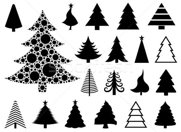 Establecer diferente Navidad árboles aislado blanco Foto stock © DeCe