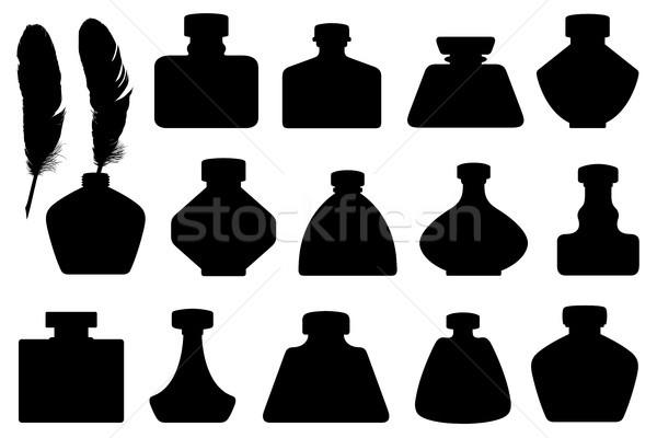 Szett különböző izolált fehér toll üveg Stock fotó © DeCe