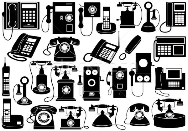 Telefon szett izolált fehér iroda terv Stock fotó © DeCe