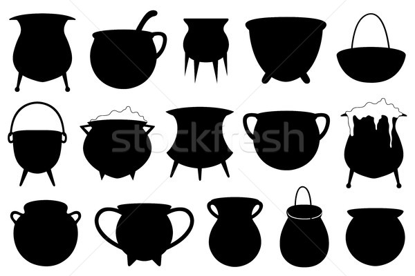 Set of different Halloween witches pots isolated on white Stock photo © DeCe