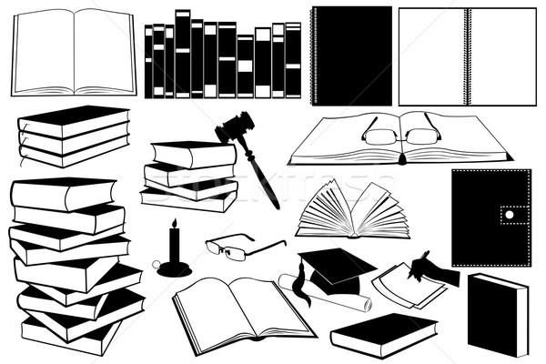 Tanulás könyvek illusztráció különböző kellékek újság Stock fotó © DeCe