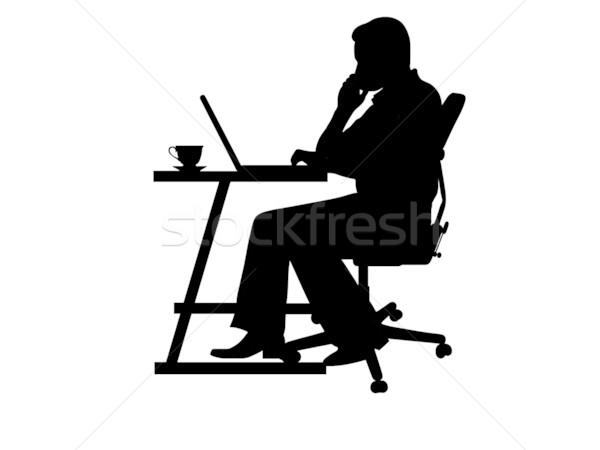 ストックフォト: 男 · シルエット · 入力 · ノートパソコン · 椅子 · デスク