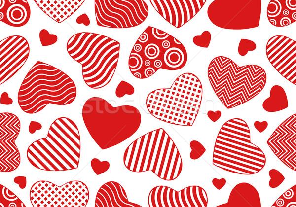 Végtelenített szívek izolált fehér textúra piros Stock fotó © DeCe