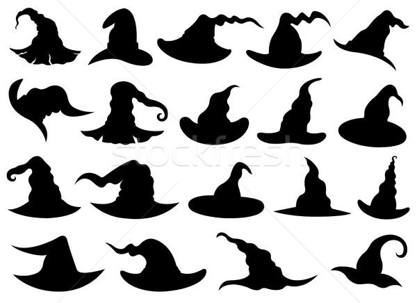 Szett különböző boszorkány sapkák izolált fehér Stock fotó © DeCe