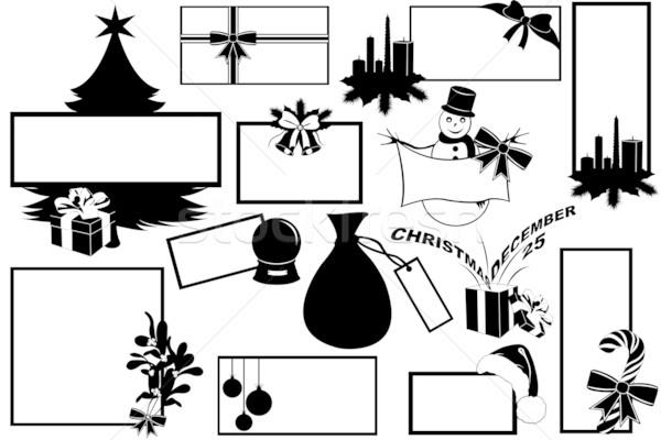 Karácsony illusztráció különböző keret papír gyertya Stock fotó © DeCe