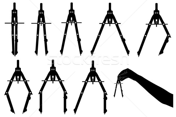 Set of different drawing compasses Stock photo © DeCe
