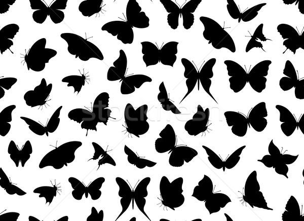 Mariposa sin costura aislado blanco fondo silueta Foto stock © DeCe