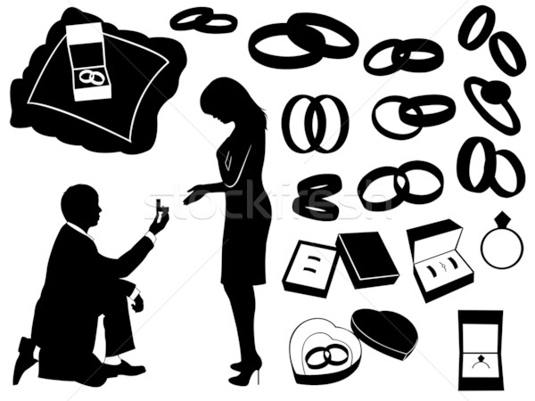 Propunere ilustrare căsătorie diferit obiecte nuntă Imagine de stoc © DeCe