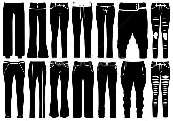 ストックフォト: セット · 異なる · ズボン · 孤立した · 白 · 業界