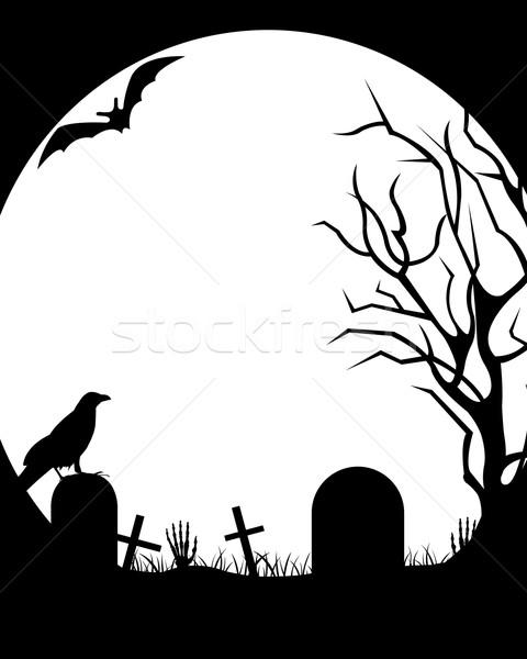 ストックフォト: ハロウィン · 実例 · 月 · 草 · 鳥 · 暗い