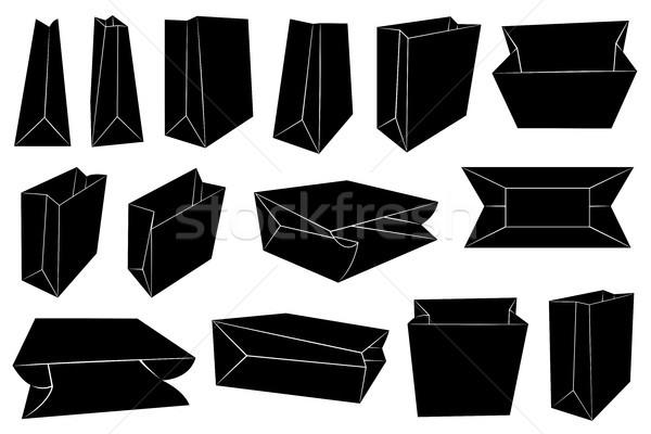 Stock fotó: Szett · különböző · papírzacskók · izolált · fehér · terv