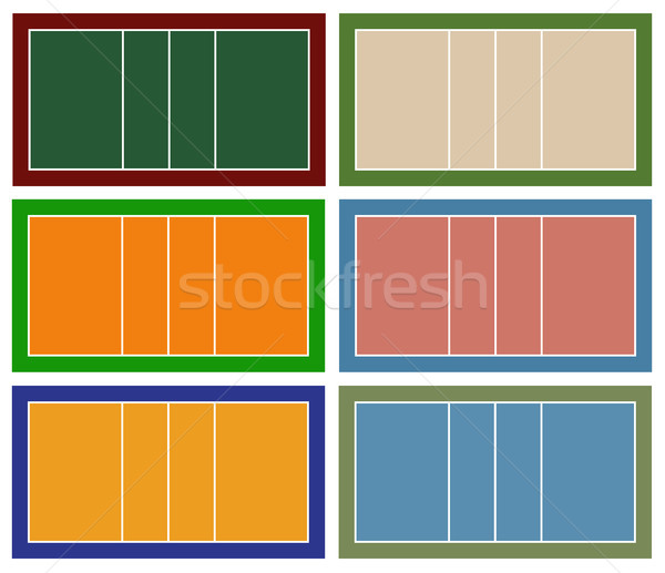 Szett különböző röplabda bíróság izolált fehér Stock fotó © DeCe
