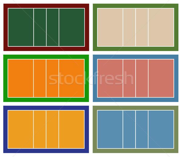 Foto stock: Conjunto · diferente · voleibol · tribunal · isolado · branco