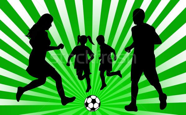 Stock fotó: Család · futball · zöld · sugarak · anya · ugrás