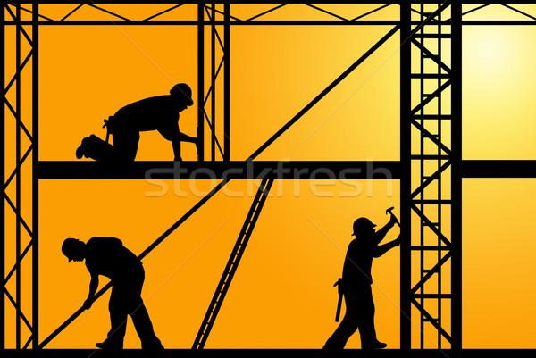 építkezés munkások narancs égbolt férfiak ipari Stock fotó © DeCe