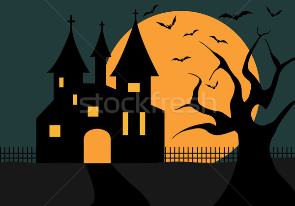 Illustration Of A Halloween Castle Stock photo © DeCe