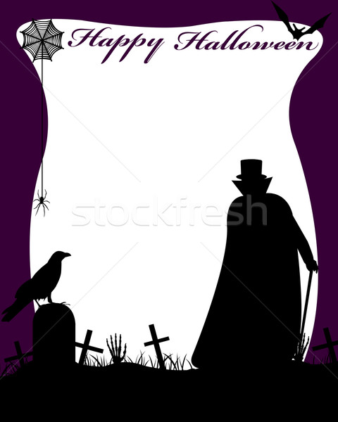 Halloween Illustration With Dracula Stock photo © DeCe