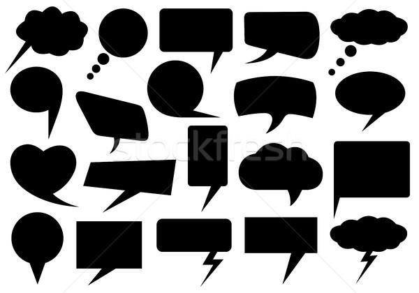 Szett különböző szövegbuborékok izolált fehér szív Stock fotó © DeCe