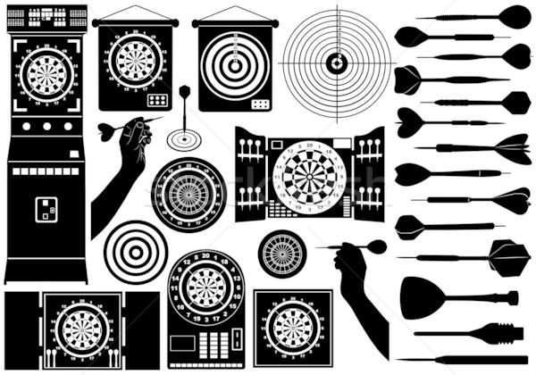 Szett különböző izolált fehér fekete sziluett Stock fotó © DeCe