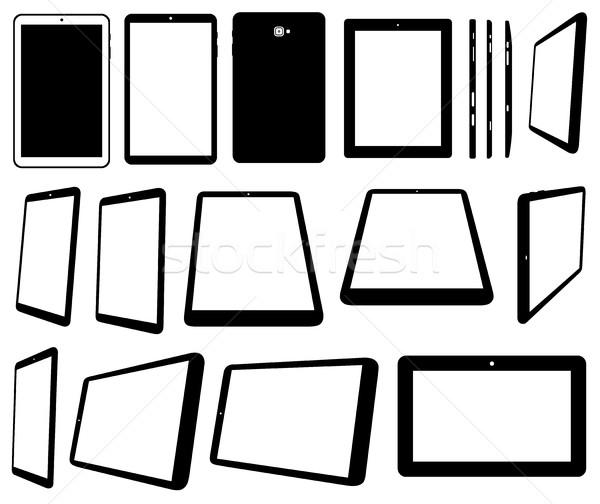 Stock fotó: Szett · különböző · számítógép · izolált · fehér · internet