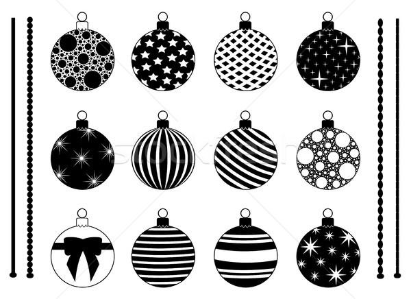 Conjunto diferente natal decorações isolado branco Foto stock © DeCe