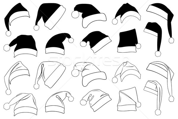 Illustration of different Christmas hats isolated on white Stock photo © DeCe