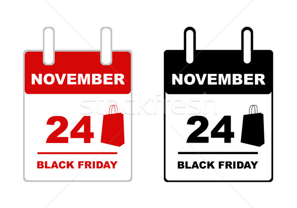 Black friday Kalender isoliert weiß rot Tasche Stock foto © DeCe