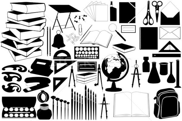 Különböző iskola tárgyak izolált iroda papír Stock fotó © DeCe