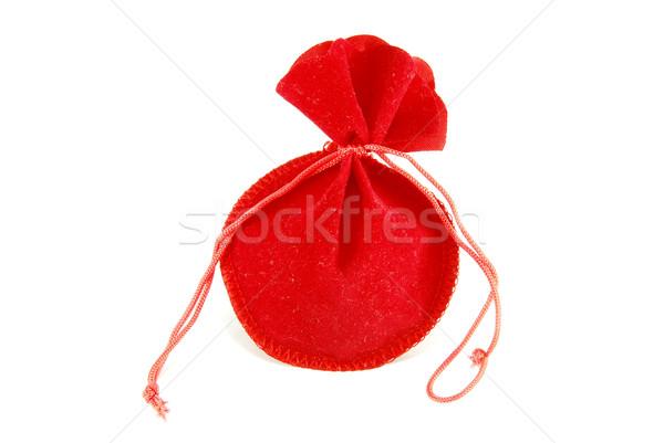 Stock fotó: Kicsi · piros · táska · izolált · fehér · szövet