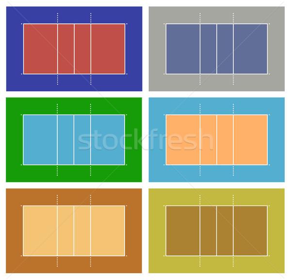 Illusztráció különböző röplabda bíróság izolált fehér Stock fotó © DeCe