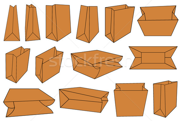 Set of different brown paper bags Stock photo © DeCe