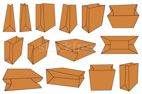 Set diverso carta marrone borse isolato bianco Foto d'archivio © DeCe