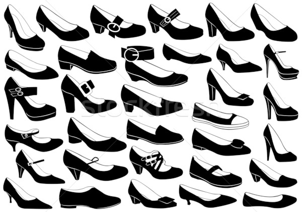 Cipők illusztráció szett izolált fehér divat Stock fotó © DeCe