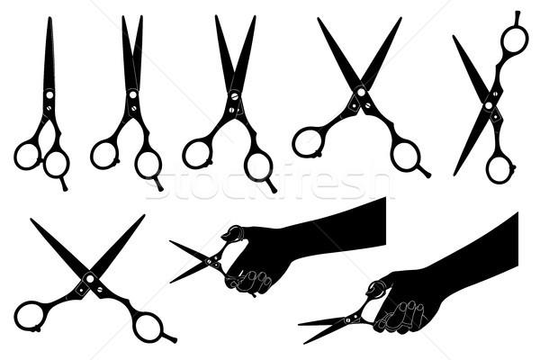 Illustrazione forbici isolato bianco design silhouette Foto d'archivio © DeCe
