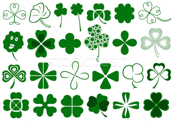 Set of different clovers set Stock photo © DeCe