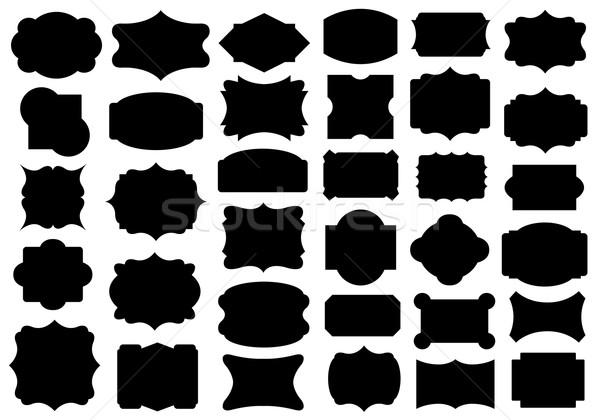 Szett különböző címkék izolált fehér fekete Stock fotó © DeCe