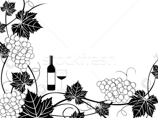 Stock fotó: Szőlő · keret · illusztráció · izolált · fehér · természet