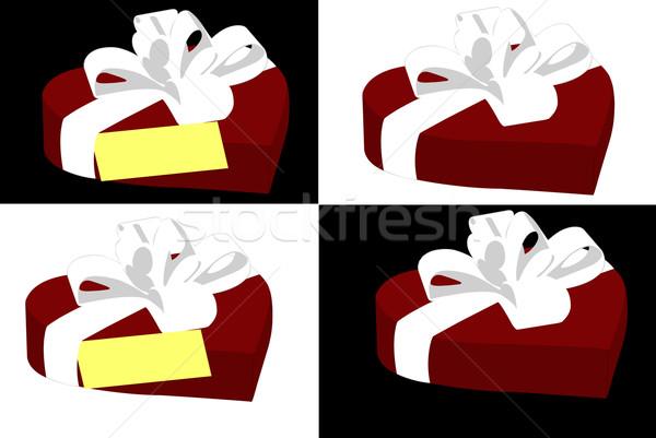 Szív alakú ajándék doboz izolált fehér fekete Stock fotó © DeCe