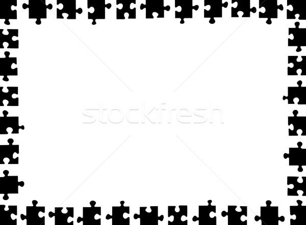 Stock fotó: Puzzle · keret · izolált · fehér · absztrakt · fekete