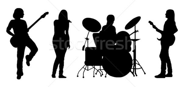 énekel zenekar vektor sziluett izolált fehér Stock fotó © DeCe