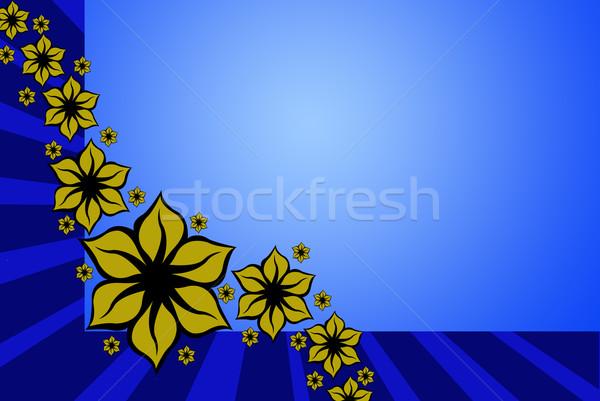 Virágmintás terv dekoráció kék sugarak Stock fotó © DeCe