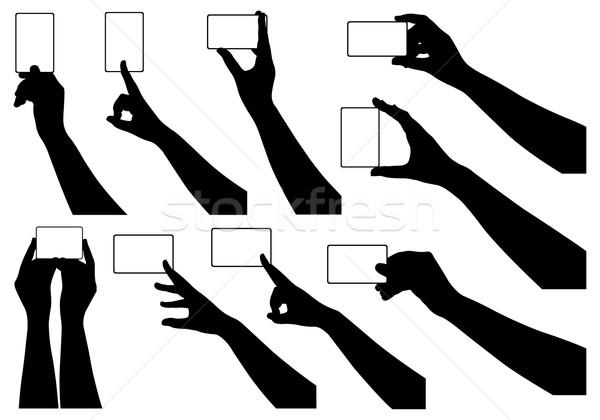 Stock fotó: Kezek · tart · névjegyek · izolált · fehér · üzlet
