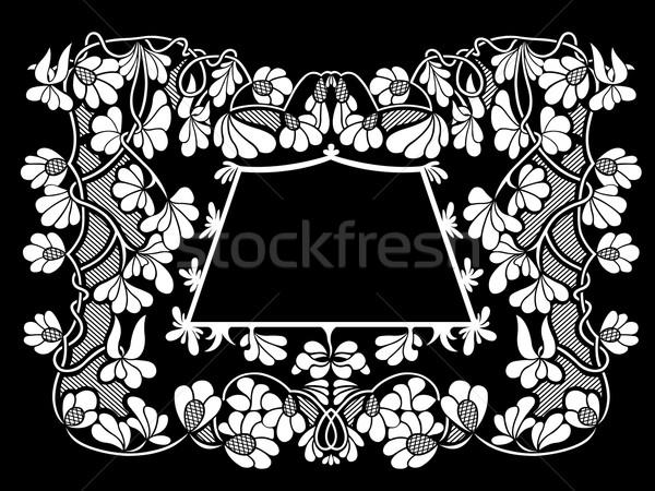 フローラル フレーム 黒 抽象的な ヴィンテージ 白 ストックフォト © DeCe