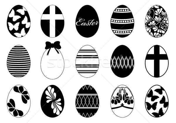 Szett különböző húsvéti tojások izolált fehér húsvét Stock fotó © DeCe
