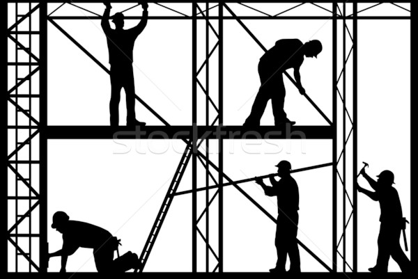 Construction workers silhouette Stock photo © DeCe