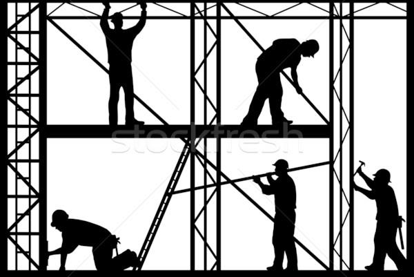 építkezés munkások sziluett izolált fehér férfiak Stock fotó © DeCe