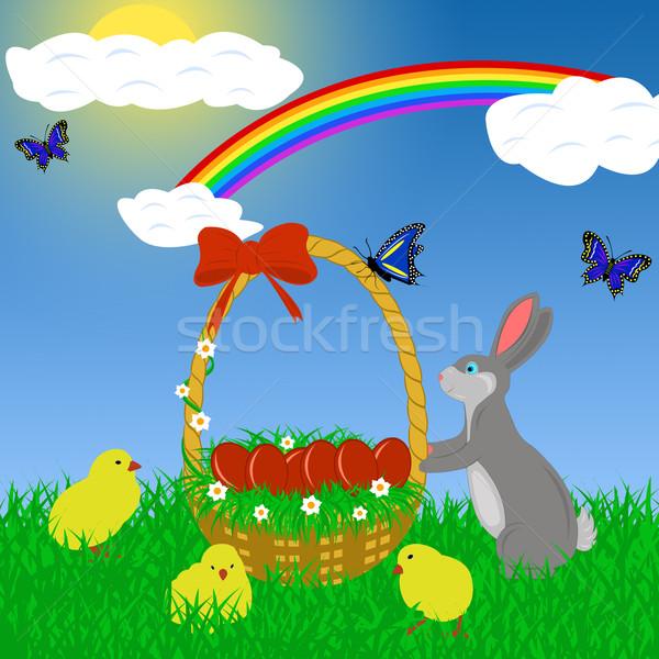 Stock fotó: Húsvét · nyúl · tojások · kosár · égbolt · tavasz